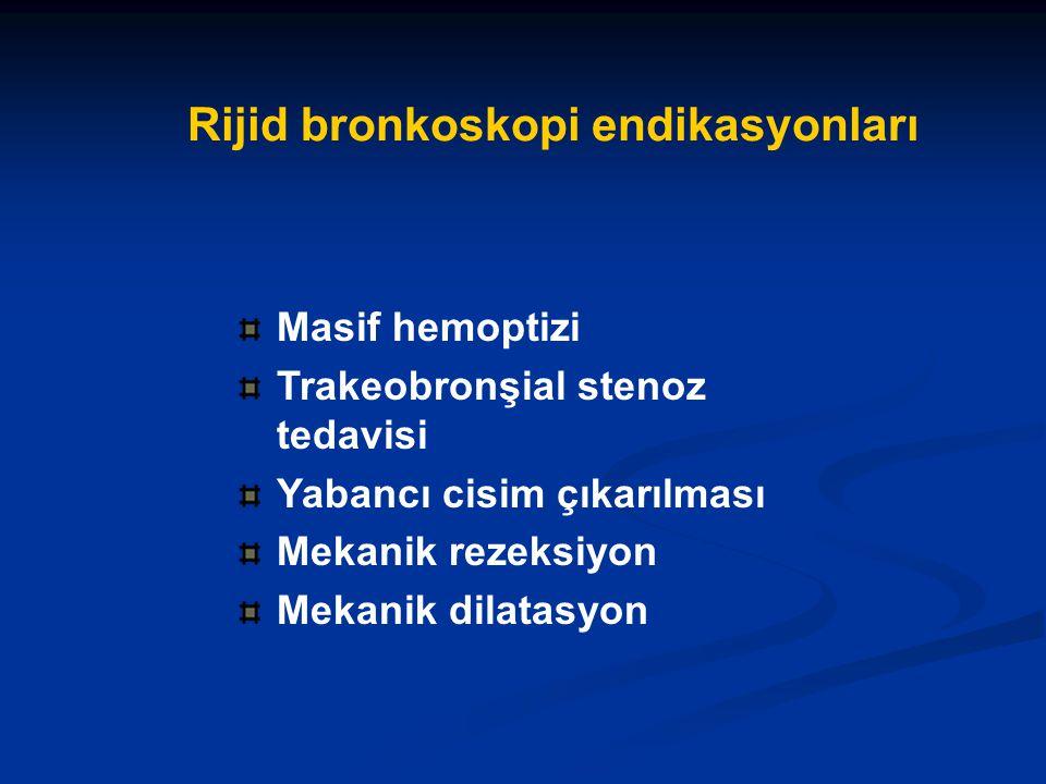 Rijid bronkoskopi endikasyonları Masif hemoptizi Trakeobronşial stenoz tedavisi Yabancı cisim çıkarılması Mekanik rezeksiyon Mekanik dilatasyon