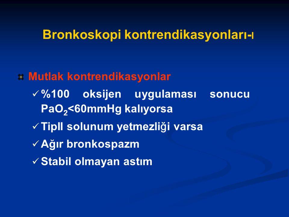 Bronkoskopi kontrendikasyonları- I Mutlak kontrendikasyonlar %100 oksijen uygulaması sonucu PaO 2 <60mmHg kalıyorsa TipII solunum yetmezli ğ i varsa Ağır bronkospazm Stabil olmayan astım