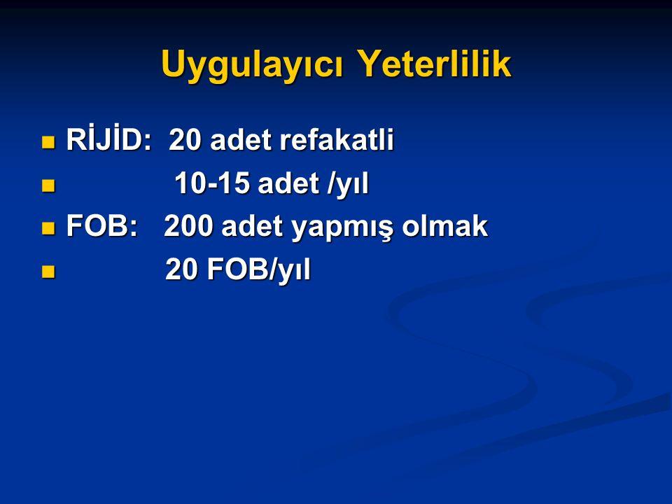 Uygulayıcı Yeterlilik RİJİD: 20 adet refakatli RİJİD: 20 adet refakatli 10-15 adet /yıl 10-15 adet /yıl FOB: 200 adet yapmış olmak FOB: 200 adet yapmış olmak 20 FOB/yıl 20 FOB/yıl