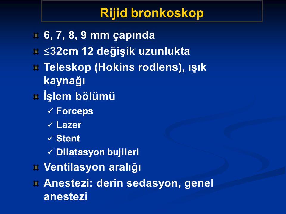 Bronkoskopi uygulama Bilinç düzeyinde sedasyon (fentanil, codein, midazolam 0.075mg/kg, 2-7mg , hydroxyzine, diazepam) İşlem boyunca %1 Lidokain enjeksiyonu (maksimum 400mg) (etki 30dk) Propofol (50mg/kg/min) ile sedasyon desteklenebilir.
