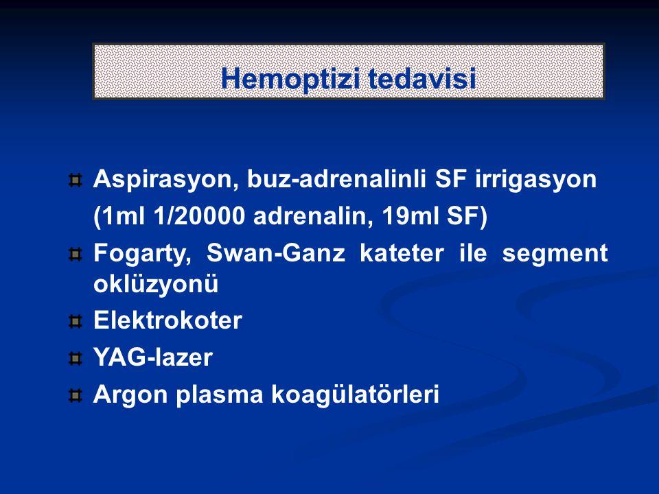 Hemoptizi tedavisi Aspirasyon, buz-adrenalinli SF irrigasyon (1ml 1/20000 adrenalin, 19ml SF) Fogarty, Swan-Ganz kateter ile segment oklüzyonü Elektro