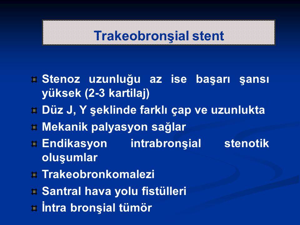 Trakeobronşial stent Stenoz uzunluğu az ise başarı şansı yüksek (2-3 kartilaj) Düz J, Y şeklinde farklı çap ve uzunlukta Mekanik palyasyon sağlar Endikasyon intrabronşial stenotik oluşumlar Trakeobronkomalezi Santral hava yolu fistülleri İntra bronşial tümör