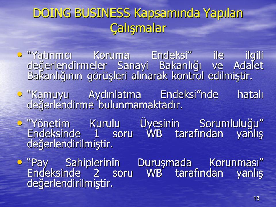 13 DOING BUSINESS Kapsamında Yapılan Çalışmalar Yatırımcı Koruma Endeksi ile ilgili değerlendirmeler Sanayi Bakanlığı ve Adalet Bakanlığının görüşleri alınarak kontrol edilmiştir.
