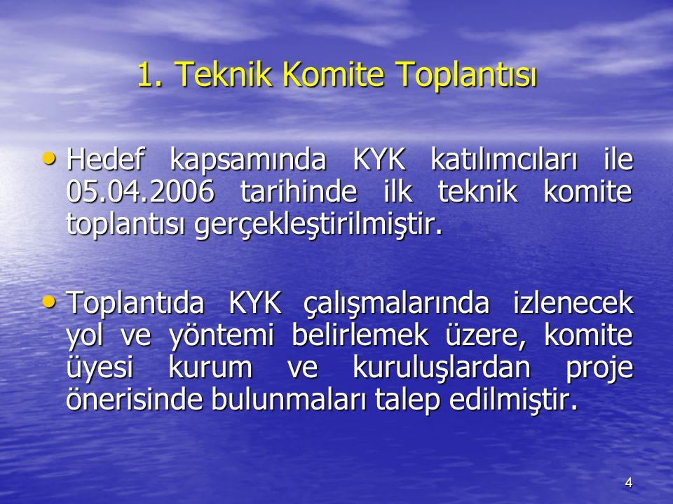 4 1. Teknik Komite Toplantısı Hedef kapsamında KYK katılımcıları ile 05.04.2006 tarihinde ilk teknik komite toplantısı gerçekleştirilmiştir. Hedef kap