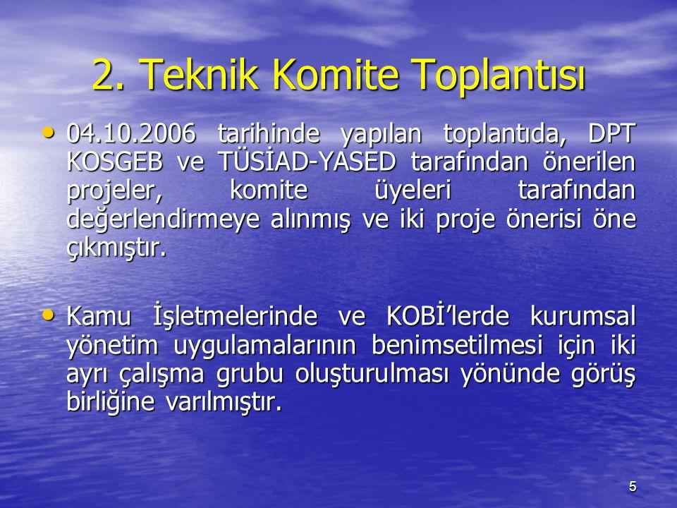 5 2. Teknik Komite Toplantısı 04.10.2006 tarihinde yapılan toplantıda, DPT KOSGEB ve TÜSİAD-YASED tarafından önerilen projeler, komite üyeleri tarafın