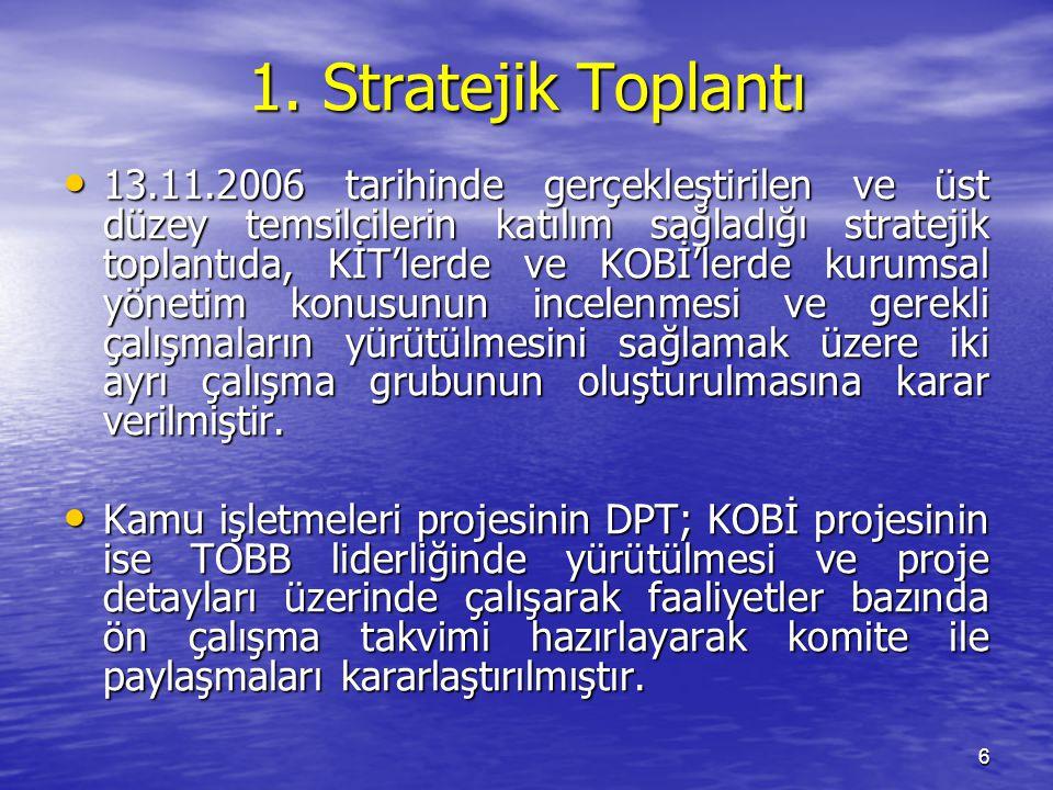 6 1. Stratejik Toplantı 13.11.2006 tarihinde gerçekleştirilen ve üst düzey temsilcilerin katılım sağladığı stratejik toplantıda, KİT'lerde ve KOBİ'ler