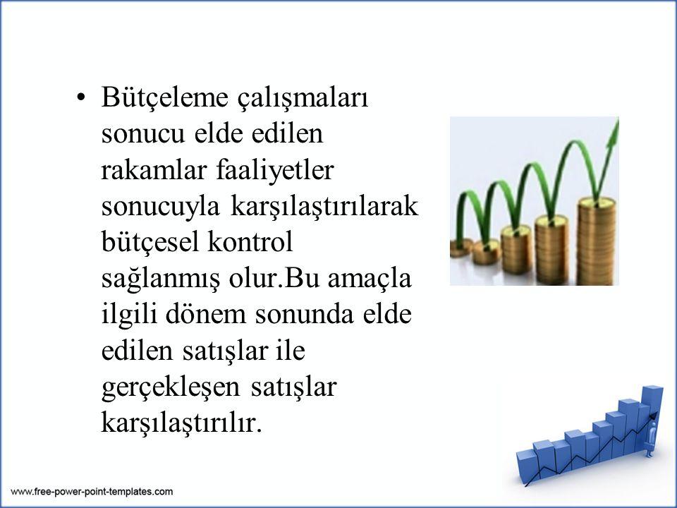 Bütçeleme çalışmaları sonucu elde edilen rakamlar faaliyetler sonucuyla karşılaştırılarak bütçesel kontrol sağlanmış olur.Bu amaçla ilgili dönem sonun