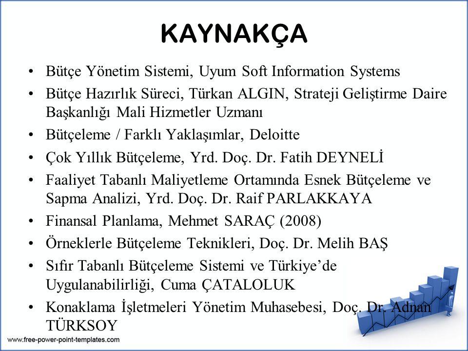 KAYNAKÇA Bütçe Yönetim Sistemi, Uyum Soft Information Systems Bütçe Hazırlık Süreci, Türkan ALGIN, Strateji Geliştirme Daire Başkanlığı Mali Hizmetler