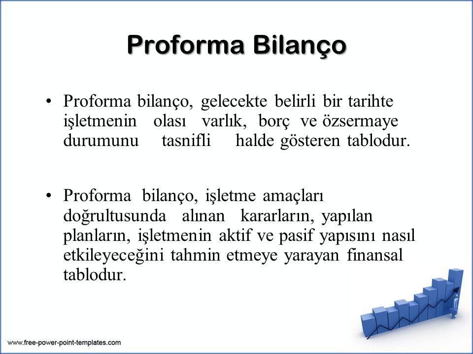 Proforma Bilanço Proforma bilanço, gelecekte belirli bir tarihte işletmenin olası varlık, borç ve özsermaye durumunu tasnifli halde gösteren tablodur.