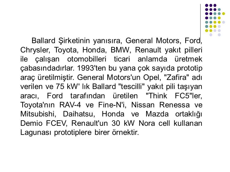 Ballard Şirketinin yanısıra, General Motors, Ford, Chrysler, Toyota, Honda, BMW, Renault yakıt pilleri ile çalışan otomobilleri ticari anlamda üretmek
