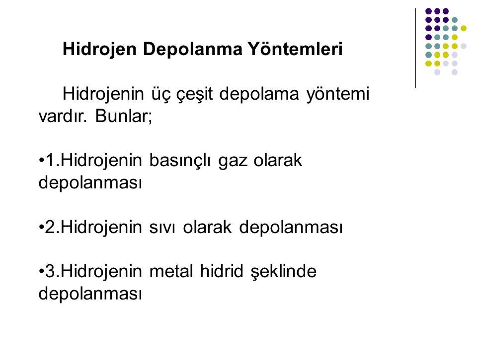 Hidrojen Depolanma Yöntemleri Hidrojenin üç çeşit depolama yöntemi vardır. Bunlar; 1.Hidrojenin basınçlı gaz olarak depolanması 2.Hidrojenin sıvı olar