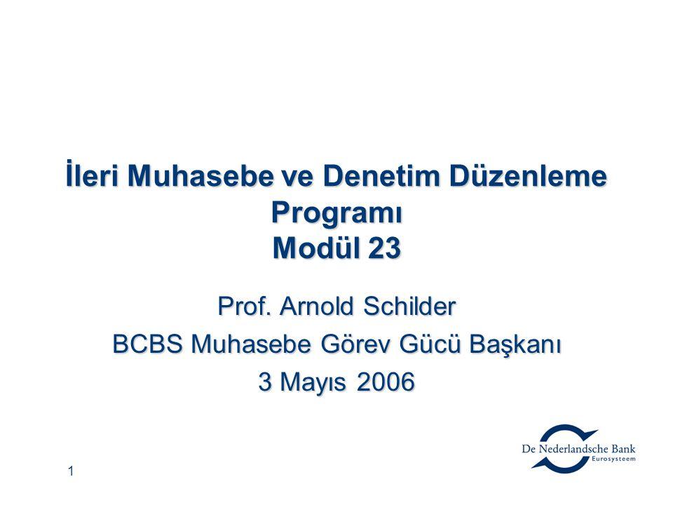1 İleri Muhasebe ve Denetim Düzenleme Programı Modül 23 Prof. Arnold Schilder BCBS Muhasebe Görev Gücü Başkanı 3 Mayıs 2006