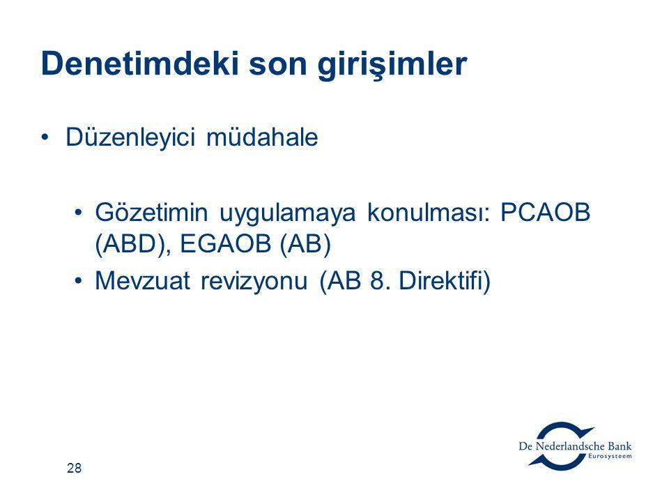 28 Denetimdeki son girişimler Düzenleyici müdahale Gözetimin uygulamaya konulması: PCAOB (ABD), EGAOB (AB) Mevzuat revizyonu (AB 8. Direktifi)