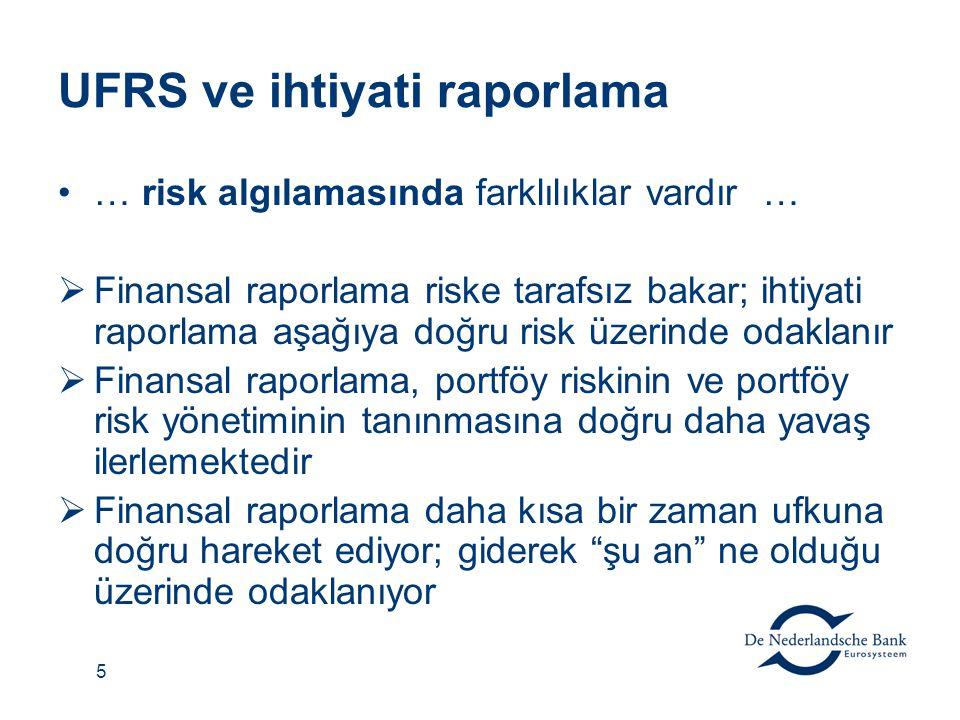 5 UFRS ve ihtiyati raporlama … risk algılamasında farklılıklar vardır …  Finansal raporlama riske tarafsız bakar; ihtiyati raporlama aşağıya doğru risk üzerinde odaklanır  Finansal raporlama, portföy riskinin ve portföy risk yönetiminin tanınmasına doğru daha yavaş ilerlemektedir  Finansal raporlama daha kısa bir zaman ufkuna doğru hareket ediyor; giderek şu an ne olduğu üzerinde odaklanıyor