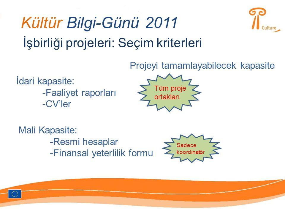 Kültür Bilgi-Günü 2011 İşbirliği projeleri: Seçim kriterleri Projeyi tamamlayabilecek kapasite İdari kapasite: -Faaliyet raporları -CV'ler Mali Kapasite: -Resmi hesaplar -Finansal yeterlilik formu Tüm proje ortakları Sadece koordinatör
