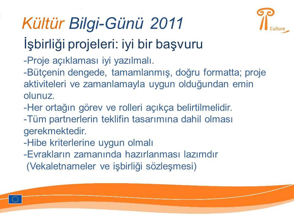 Kültür Bilgi-Günü 2011 İşbirliği projeleri: iyi bir başvuru -Proje açıklaması iyi yazılmalı.