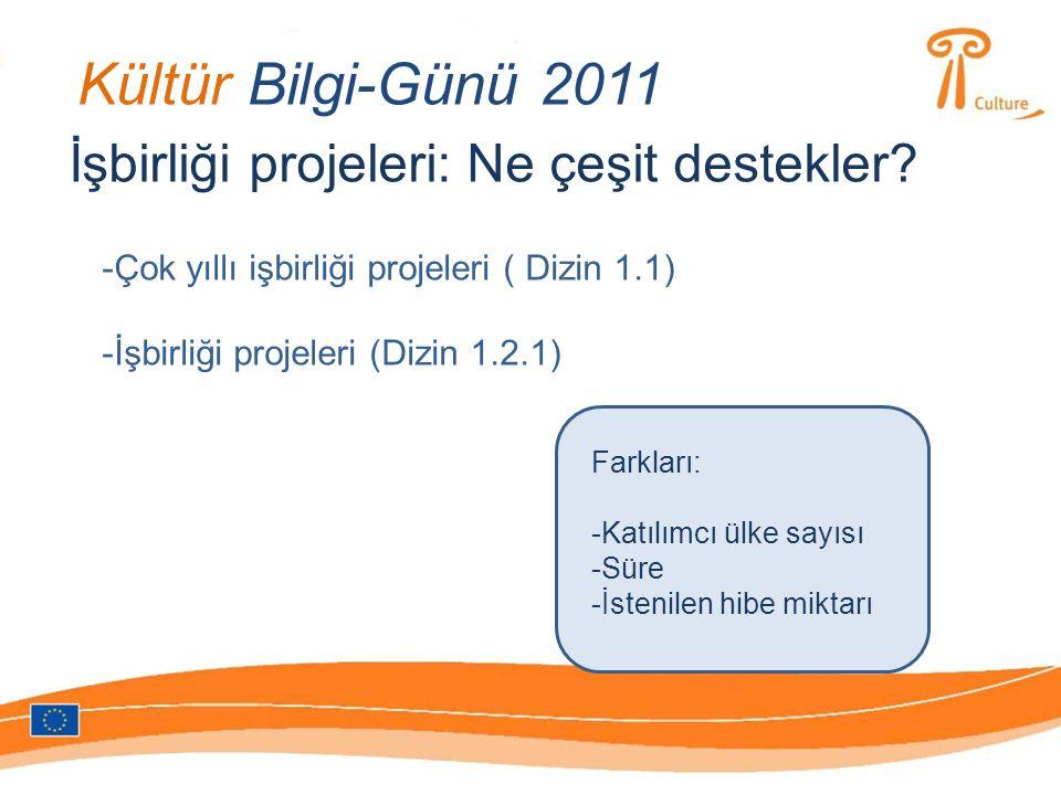 Kültür Bilgi-Günü 2011 İşbirliği projeleri: Ne çeşit destekler.