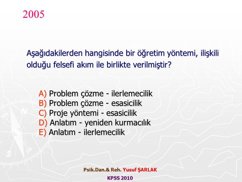 Aşağıdakilerden hangisinde bir öğretim yöntemi, ilişkili olduğu felsefi akım ile birlikte verilmiştir? 2005 A) Problem çözme - ilerlemecilik B) Proble