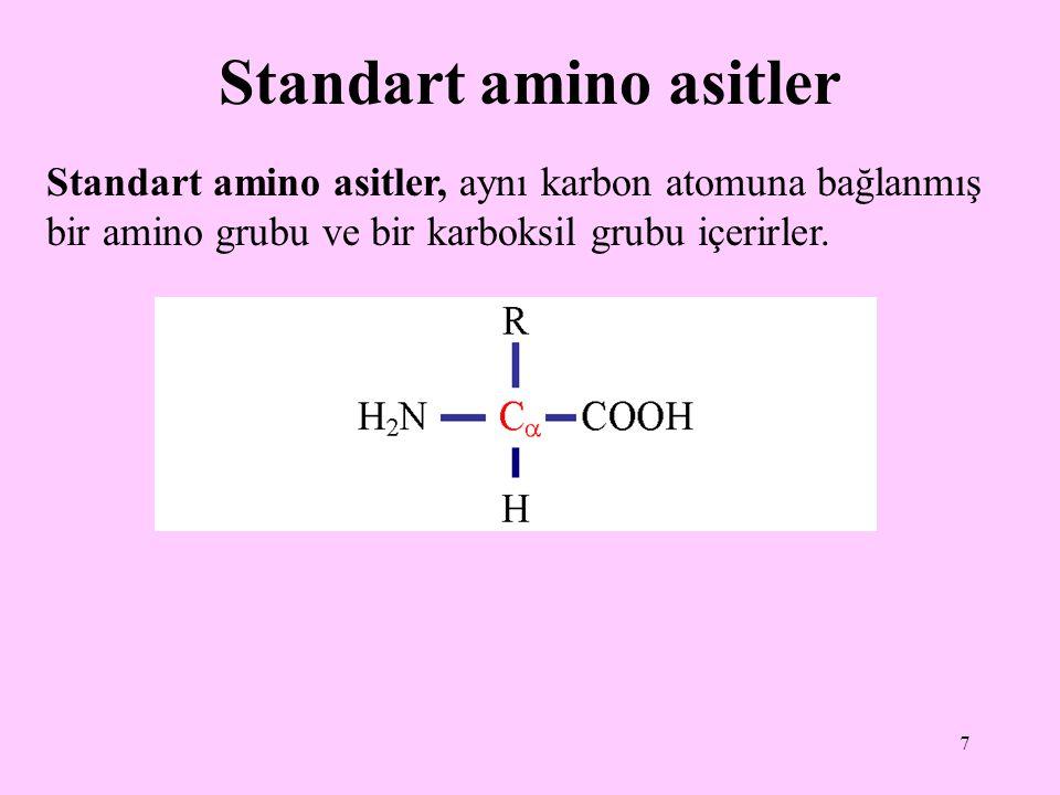 7 Standart amino asitler Standart amino asitler, aynı karbon atomuna bağlanmış bir amino grubu ve bir karboksil grubu içerirler.