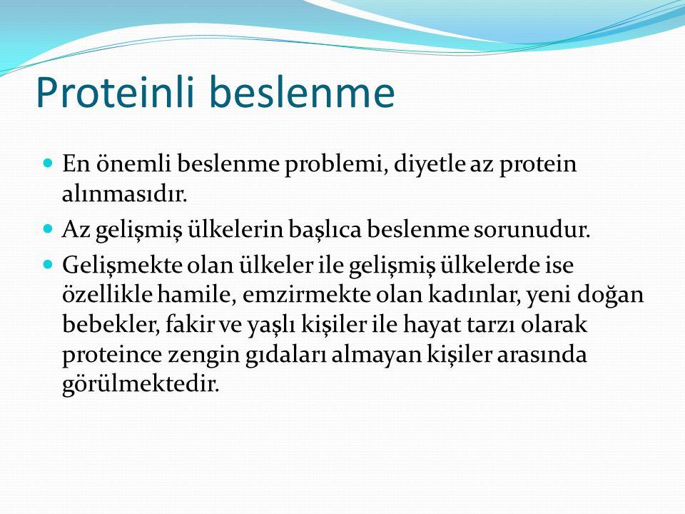 Proteinli beslenme En önemli beslenme problemi, diyetle az protein alınmasıdır.