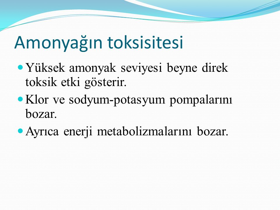 Amonyağın toksisitesi Yüksek amonyak seviyesi beyne direk toksik etki gösterir. Klor ve sodyum-potasyum pompalarını bozar. Ayrıca enerji metabolizmala