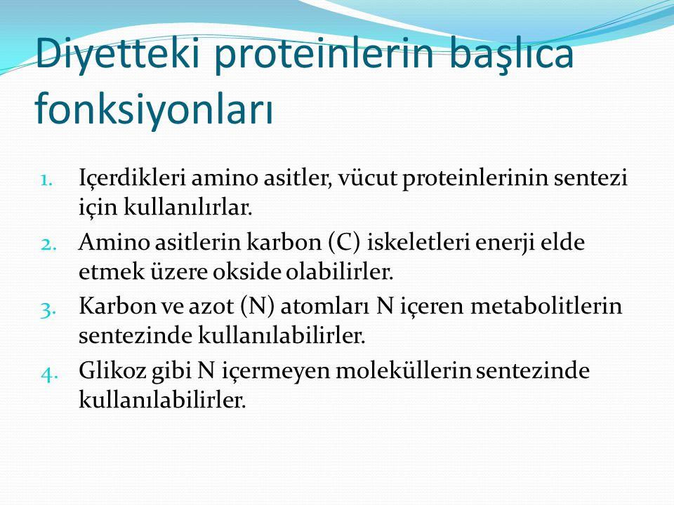 Diyetteki proteinlerin başlıca fonksiyonları 1. Içerdikleri amino asitler, vücut proteinlerinin sentezi için kullanılırlar. 2. Amino asitlerin karbon