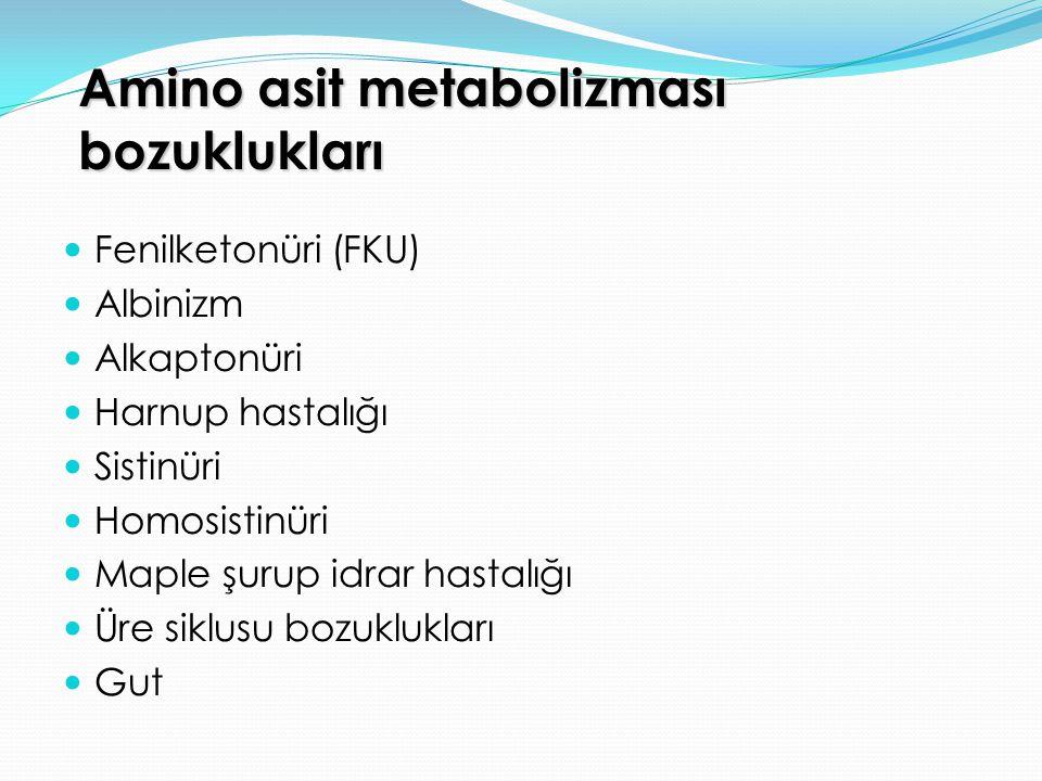 Amino asit metabolizması bozuklukları Fenilketonüri (FKU) Albinizm Alkaptonüri Harnup hastalığı Sistinüri Homosistinüri Maple şurup idrar hastalığı Üre siklusu bozuklukları Gut