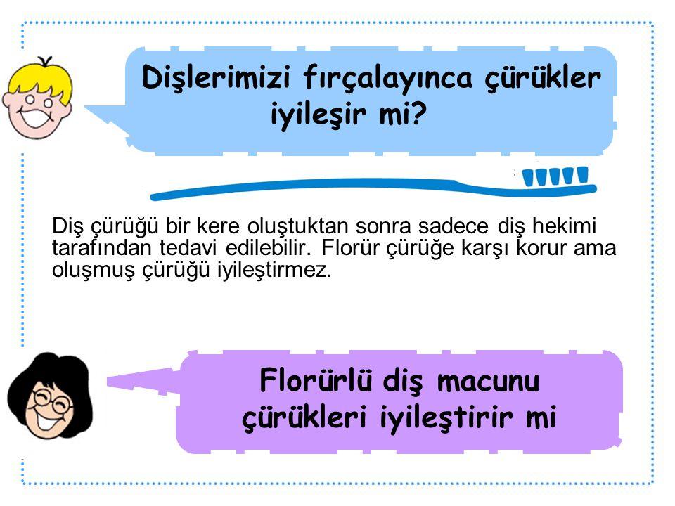 Diş çürüğü bir kere oluştuktan sonra sadece diş hekimi tarafından tedavi edilebilir. Florür çürüğe karşı korur ama oluşmuş çürüğü iyileştirmez. Dişler