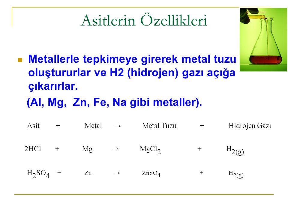 Asitlerin Özellikleri Metallerle tepkimeye girerek metal tuzu oluştururlar ve H2 (hidrojen) gazı açığa çıkarırlar.