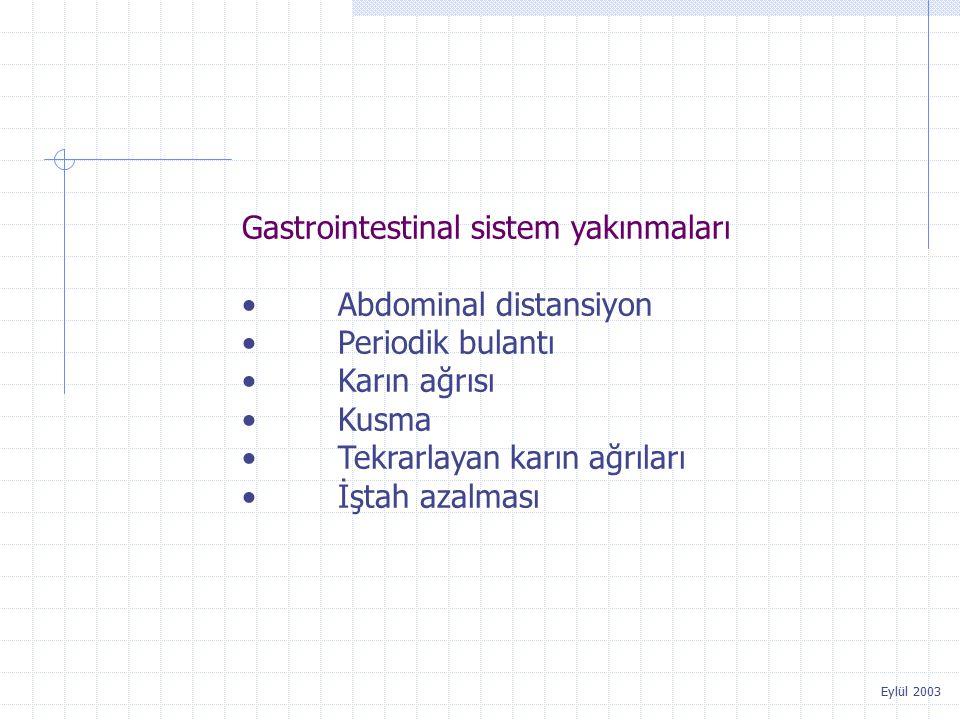 Eylül 2003 Gastrointestinal sistem yakınmaları Abdominal distansiyon Periodik bulantı Karın ağrısı Kusma Tekrarlayan karın ağrıları İştah azalması