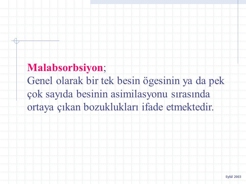 Eylül 2003 Malabsorbsiyon; Genel olarak bir tek besin ögesinin ya da pek çok sayıda besinin asimilasyonu sırasında ortaya çıkan bozuklukları ifade etm