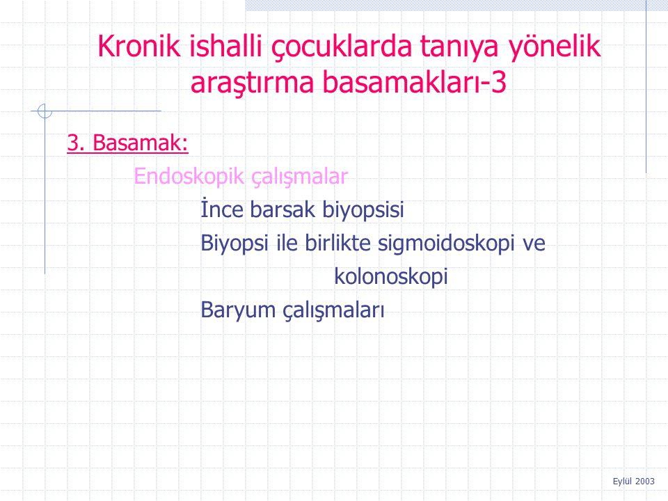 Eylül 2003 3. Basamak: Endoskopik çalışmalar İnce barsak biyopsisi Biyopsi ile birlikte sigmoidoskopi ve kolonoskopi Baryum çalışmaları Kronik ishalli