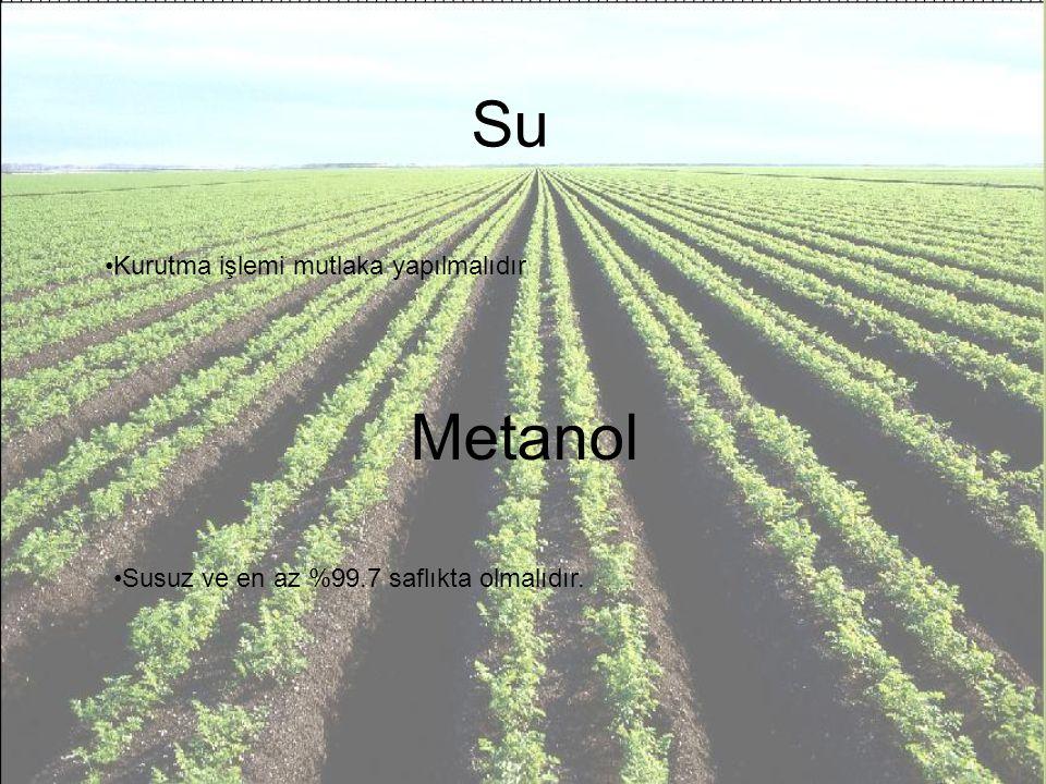Su Kurutma işlemi mutlaka yapılmalıdır Metanol Susuz ve en az %99.7 saflıkta olmalıdır.