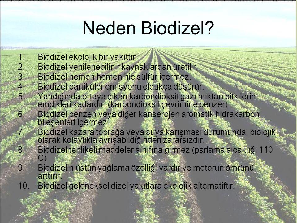 Neden Biodizel? 1.Biodizel ekolojik bir yakıttır 2.Biodizel yenilenebilinir kaynaklardan üretilir. 3.Biodizel hemen hemen hiç sülfür içermez. 4.Biodiz