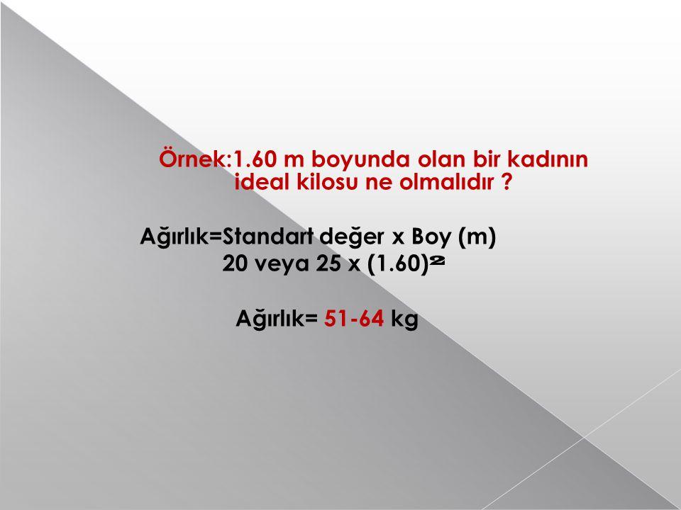 Örnek:1.60 m boyunda olan bir kadının ideal kilosu ne olmalıdır .