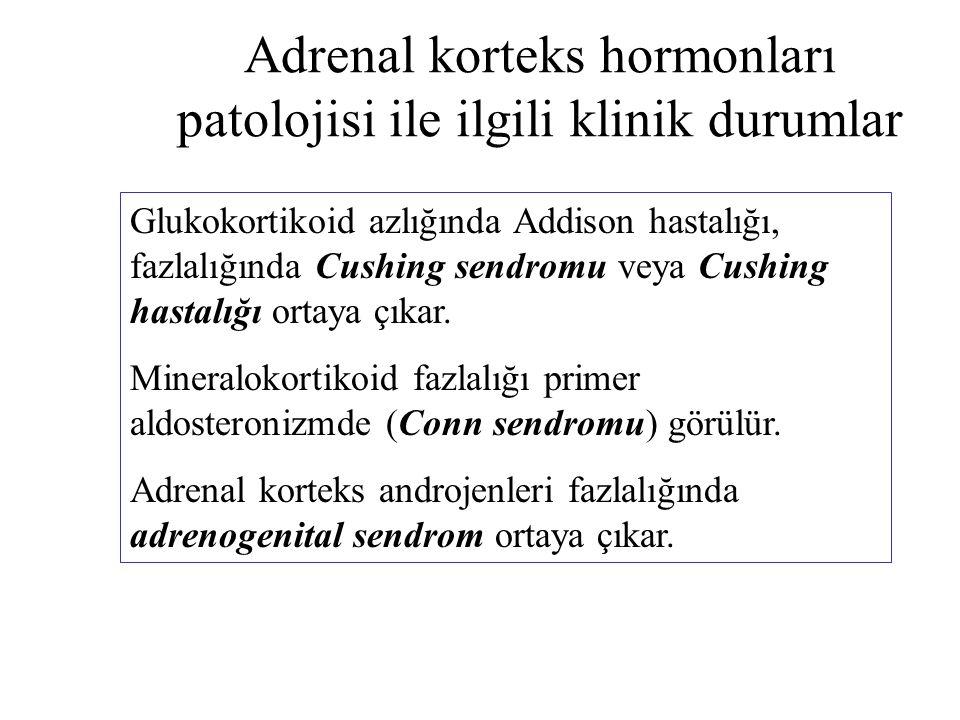 Adrenal korteks hormonları patolojisi ile ilgili klinik durumlar Glukokortikoid azlığında Addison hastalığı, fazlalığında Cushing sendromu veya Cushin