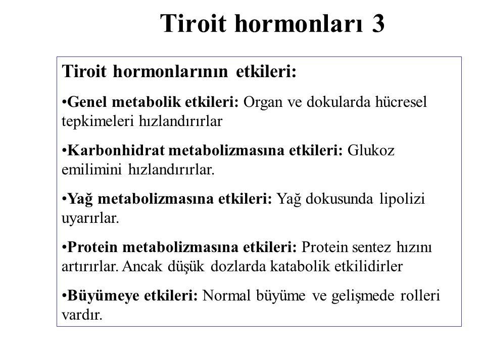Tiroit hormonları 3 Tiroit hormonlarının etkileri: Genel metabolik etkileri: Organ ve dokularda hücresel tepkimeleri hızlandırırlar Karbonhidrat metab