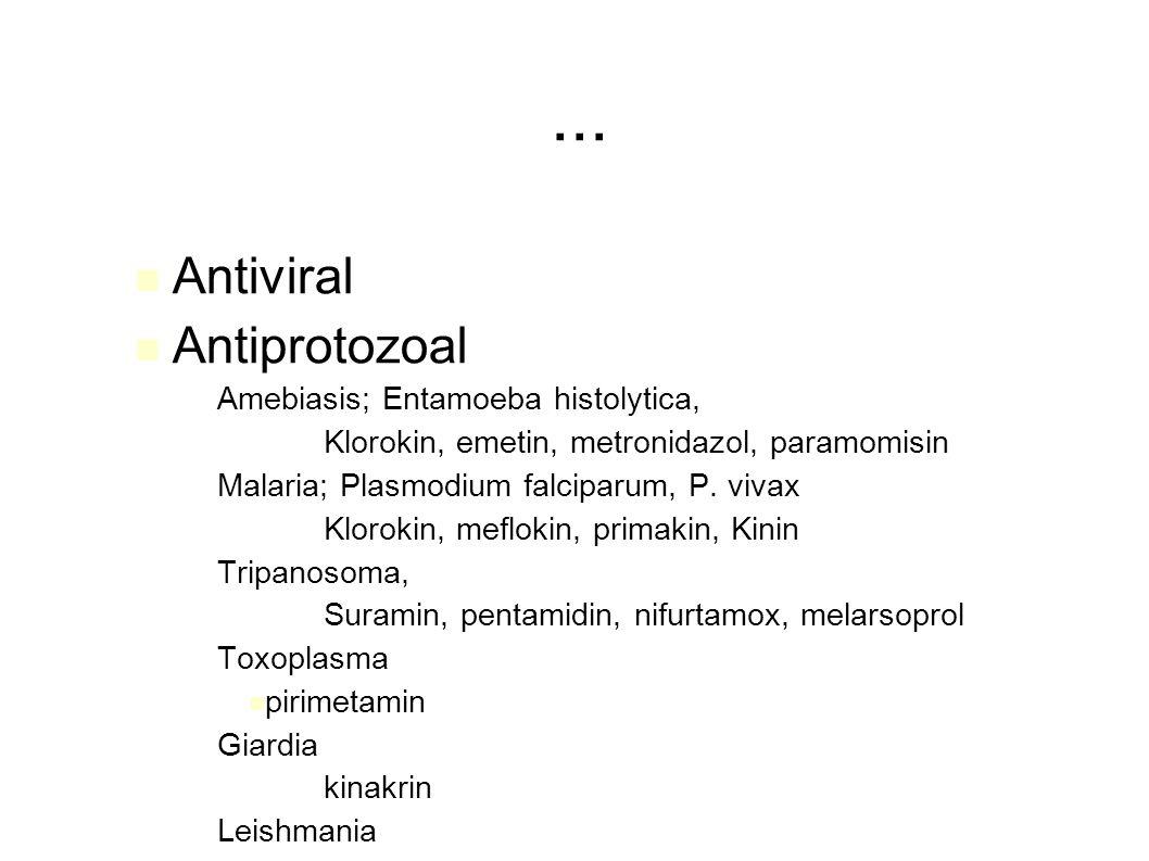 ... Antiviral Antiprotozoal – Amebiasis; Entamoeba histolytica, – Klorokin, emetin, metronidazol, paramomisin – Malaria; Plasmodium falciparum, P. viv
