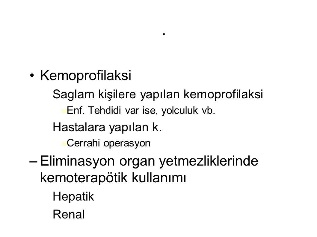 . Kemoprofilaksi – Saglam kişilere yapılan kemoprofilaksi Enf. Tehdidi var ise, yolculuk vb. – Hastalara yapılan k. Cerrahi operasyon –Eliminasyon org