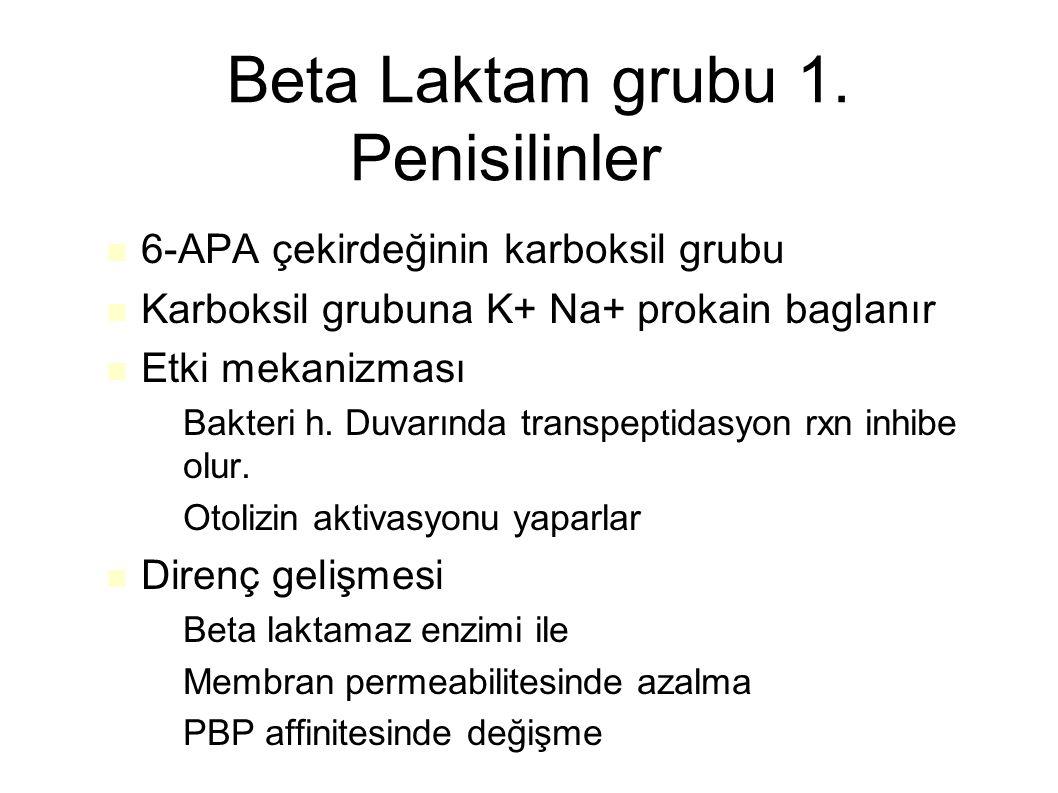 Beta Laktam grubu 1. Penisilinler 6-APA çekirdeğinin karboksil grubu Karboksil grubuna K+ Na+ prokain baglanır Etki mekanizması – Bakteri h. Duvarında
