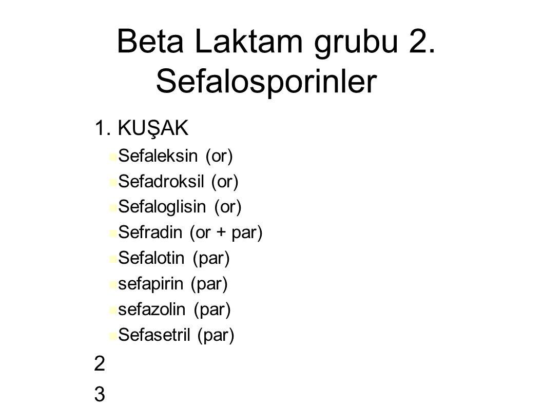 Beta Laktam grubu 2. Sefalosporinler – 1. KUŞAK Sefaleksin (or) Sefadroksil (or) Sefaloglisin (or) Sefradin (or + par) Sefalotin (par) sefapirin (par)