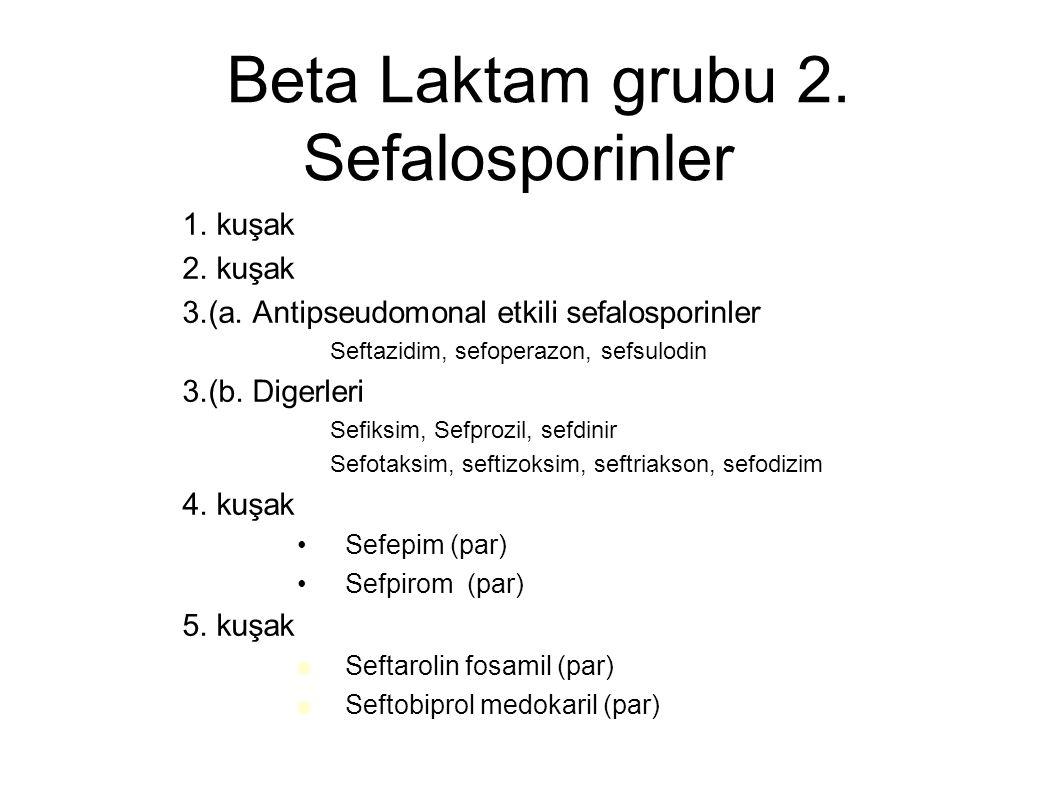 Beta Laktam grubu 2. Sefalosporinler – 1. kuşak – 2. kuşak – 3.(a. Antipseudomonal etkili sefalosporinler Seftazidim, sefoperazon, sefsulodin – 3.(b.