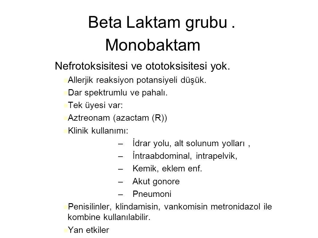Beta Laktam grubu. Monobaktam – Nefrotoksisitesi ve ototoksisitesi yok. Allerjik reaksiyon potansiyeli düşük. Dar spektrumlu ve pahalı. Tek üyesi var: