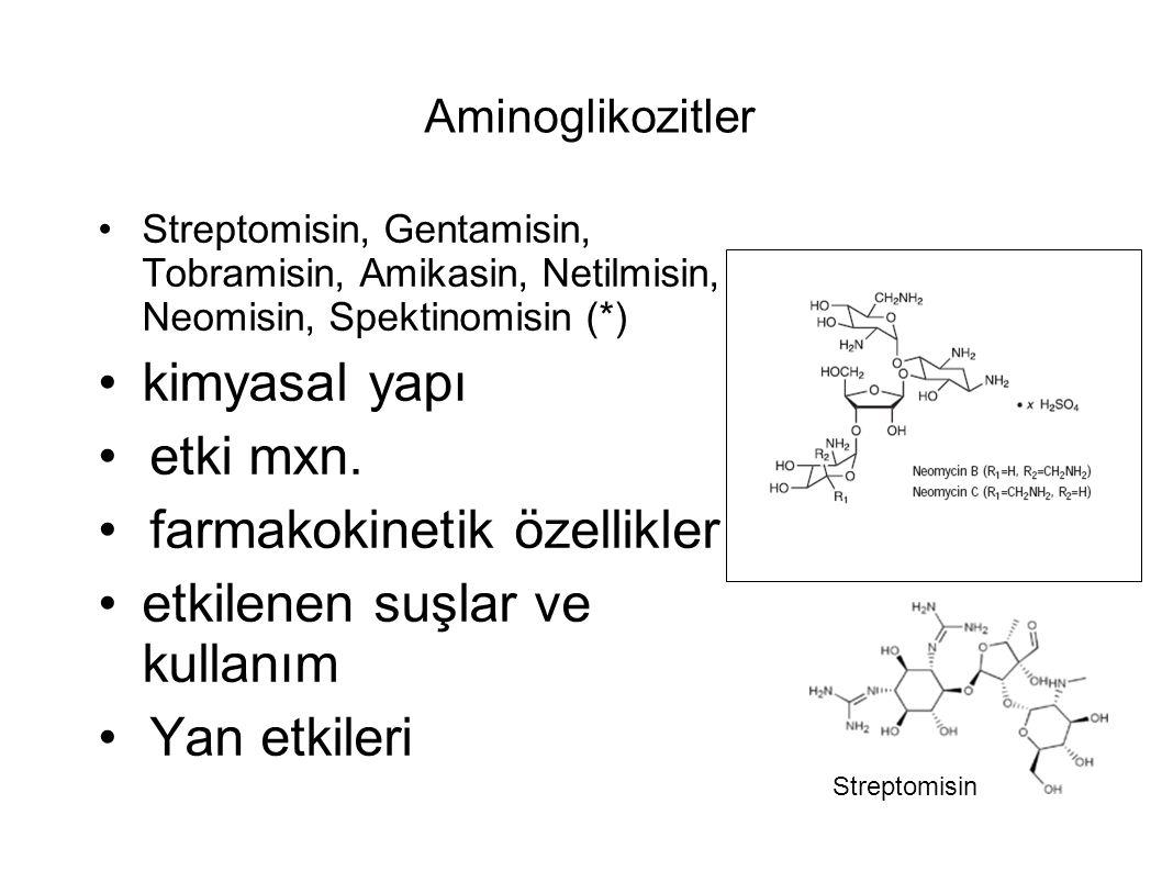 Aminoglikozitler Streptomisin, Gentamisin, Tobramisin, Amikasin, Netilmisin, Neomisin, Spektinomisin (*) kimyasal yapı etki mxn.