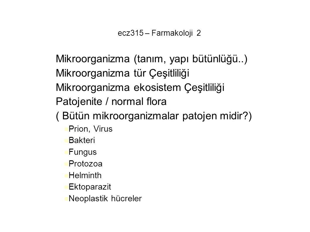ecz315 – Farmakoloji 2 – Mikroorganizma (tanım, yapı bütünlüğü..) – Mikroorganizma tür Çeşitliliği – Mikroorganizma ekosistem Çeşitliliği – Patojenite
