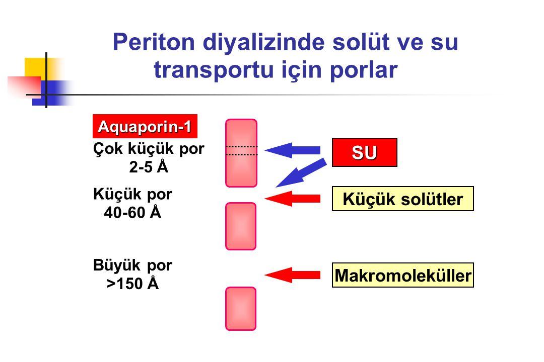 Periton diyalizinde solüt ve su transportu için porlar Çok küçük por 2-5 Å Küçük por 40-60 Å Büyük por >150 Å Makromoleküller Küçük solütler SU Aquapo