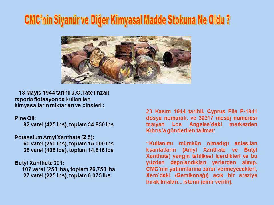 13 Mayıs 1944 tarihli J.G.Tate imzalı raporla flotasyonda kullanılan kimyasalların miktarları ve cinsleri : Pine Oil: 82 varel (425 lbs), toplam 34,850 lbs Potassium Amyl Xanthate (Z 5): 60 varel (250 lbs), toplam 15,000 lbs 36 varel (406 lbs), toplam 14,616 lbs Butyl Xanthate 301: 107 varel (250 lbs), toplam 26,750 lbs 27 varel (225 lbs), toplam 6,075 lbs 23 Kasım 1944 tarihli, Cyprus File P-1841 dosya numaralı, ve 39317 mesaj numarası taşıyan Los Angeles'deki merkezden Kıbrıs'a gönderilen talimat: Kullanımı mümkün olmadığı anlaşılan ksantatların (Amyl Xanthate ve Butyl Xanthate) yangın tehlikesi içerdikleri ve bu yüzden depolandıkları yerlerden alınıp, CMC'nin yatırımlarına zarar vermeyecekleri, Xero'daki (Gemikonağı) açık bir araziye bırakılmaları...