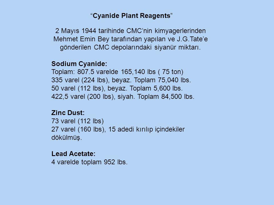 2 Mayıs 1944 tarihinde CMC'nin kimyagerlerinden Mehmet Emin Bey tarafından yapılan ve J.G.Tate'e gönderilen CMC depolarındaki siyanür miktarı.