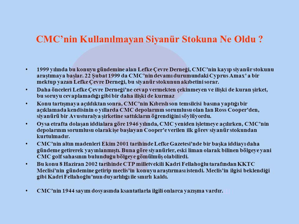 CMC'nin Kullanılmayan Siyanür Stokuna Ne Oldu .