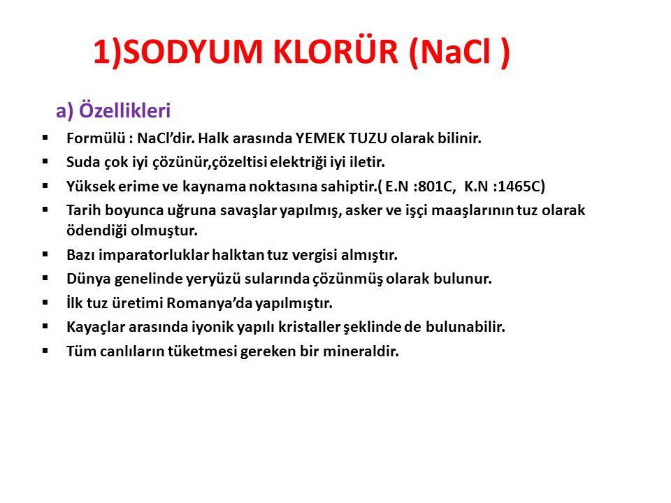 1)SODYUM KLORÜR (NaCl ) a) Özellikleri  Formülü : NaCl'dir. Halk arasında YEMEK TUZU olarak bilinir.  Suda çok iyi çözünür,çözeltisi elektriği iyi i